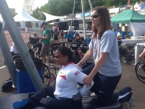 Dr. Tona Hetzler working with the US Paralympic Team in Switzerland