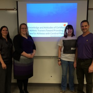 Amy with her thesis committee (from left to right; Dr. Tona Hetzler, Amy Smith, Dr. Erin Buchanan, Dr. Allan Liggett).