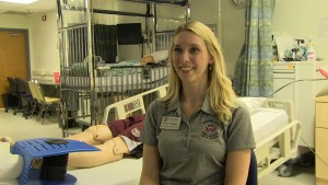 Kristin Tivener, clinical instructor, in the high fidelity simulation lab