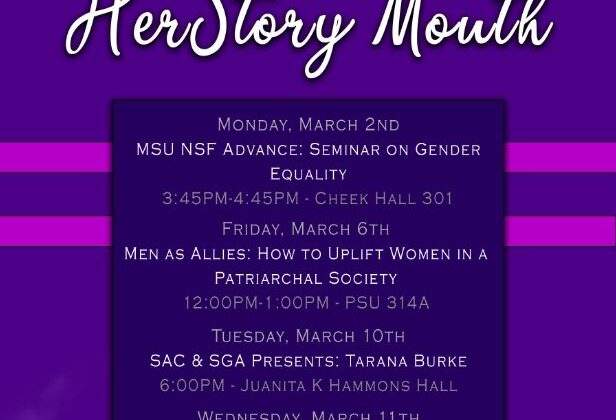 March 2 MSU NSF Advance: Seminar on Gender Equality 3:45-4:45 pm Cheek Hall 301 March 6 Men as Allies: How to Uplift Women in a Patriarchal Society 12-1:00 pm PSU 314A March 10 SGA presents Tarana Burke Founder of the #metoo movement Juanita K. Hammons Hall 6-8pm March 11 Presentation on Machismo and its impact on women Lupita Perez-Lopez (student) MRC Annex 3:00 pm