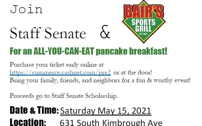 Don't forget to join us for the Annual Pancake Breakfast! Date: Saturday, May 15th Time: 8:30 am to 11:30 am Location: Bair's. 631 South Kimbrough Ave Cost: All you eat for seven dollars a ticket. Kids two and under eat free! Details: Purchase tickets in advance by going to https://commerce.cashnet.com/pre2 OR at the door!