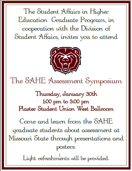 Student Affairs in Higher Education SAHE Assessment Symposium