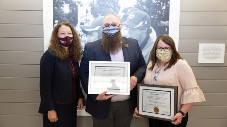Dr. Tara Benson, Dr. Dee Siscoe and Travis Schilla Board of Governors Staff Excellence in Public Affairs Award