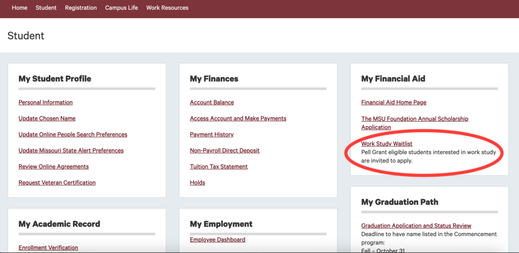 Image of the Work-Study Waitlist located on the Student section of the My Missouri State Webpage.