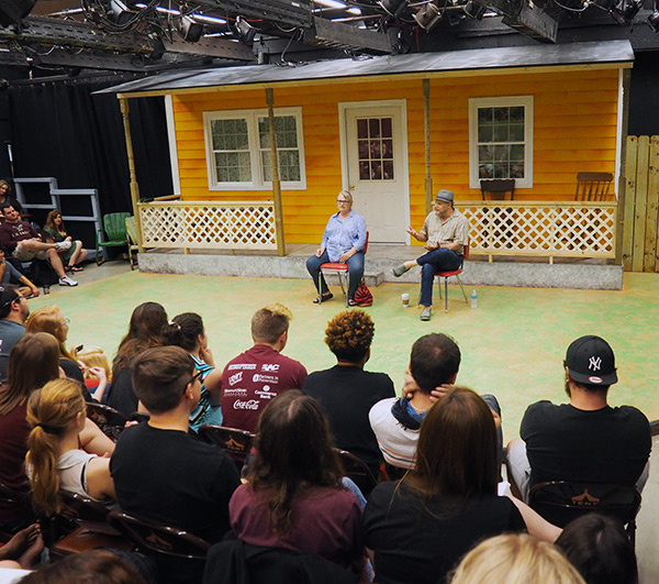 Acting alums Tess Harper and Jack Laufer visit Missouri State students on Sept. 18, 2015.