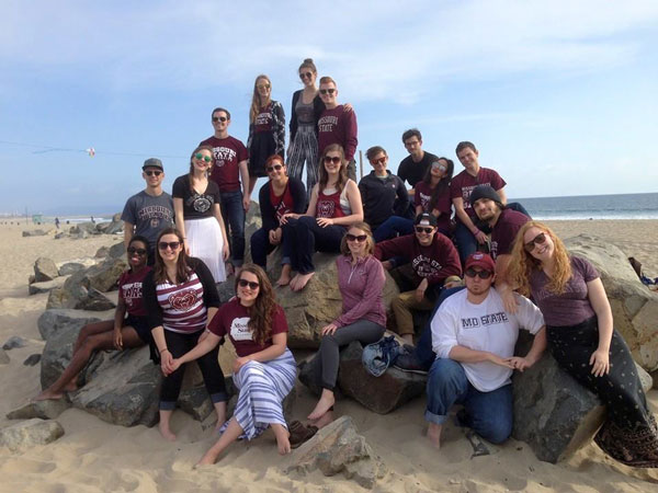 Seniors relax on the beach between showcase events in Los Angeles (April 2015).