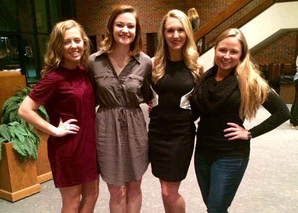 Katie Griffiths, Kristen Bretzke, Molly Haslag and Alex Grossman attended the 2016 American College Dance Association regional conference.