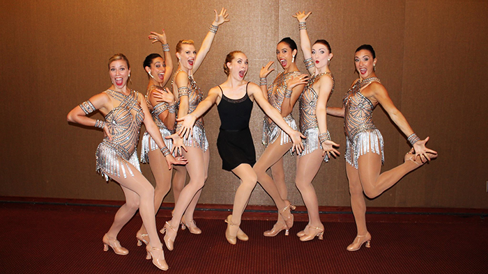 Nadia Stine with members of the Radio City Rockettes