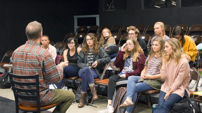 Kurt Heinlein speaks to students rehearsing for CCTA