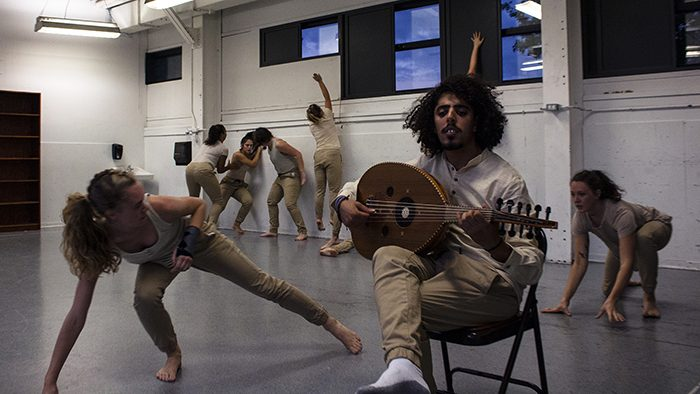"Musician Omar Vinaty and dancers in a rehearsal of ""Hunak"""