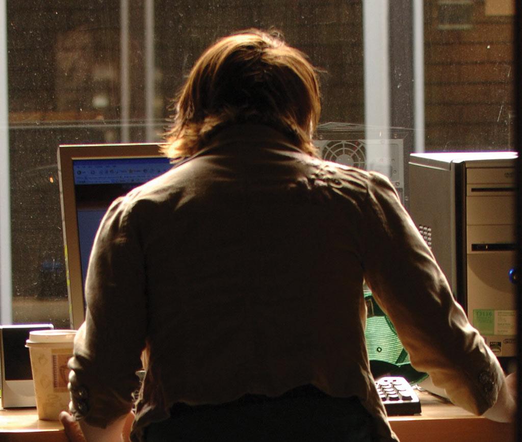 Student studies at computer