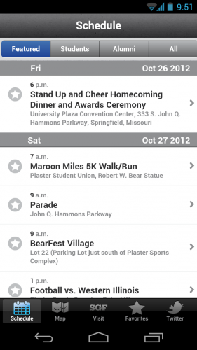 Homecoming 2012 App Schedule