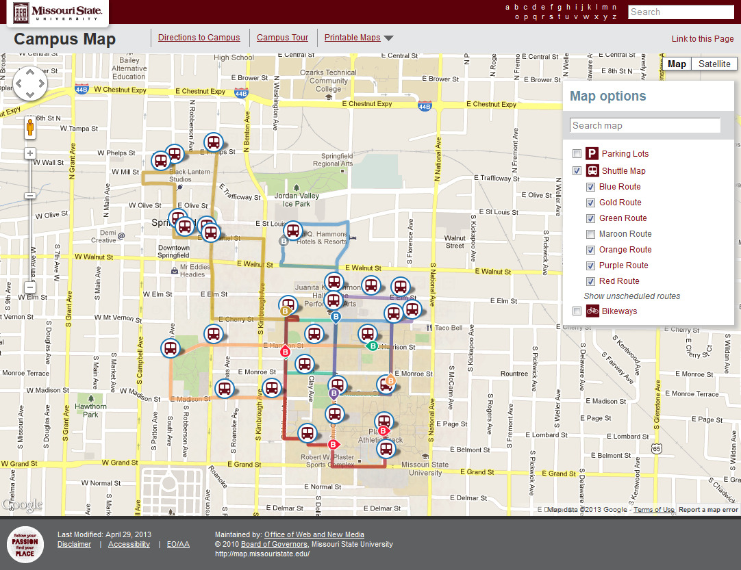 Latest Campus Map Source Code Web And New Media Blog Missouri - Map of state of missouri