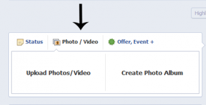 Upload photo/video option in Facebook