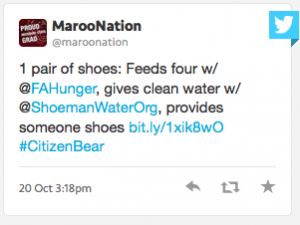 MarooNation Tweet: 1 pair of shoes: Feeds four w/ @FAHunger, gives clean water w/ @ShoemanWaterOrg, provides someone shoes. Link #CitizenBear