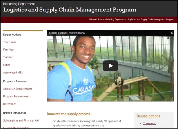 Logistics and supply chain management program page
