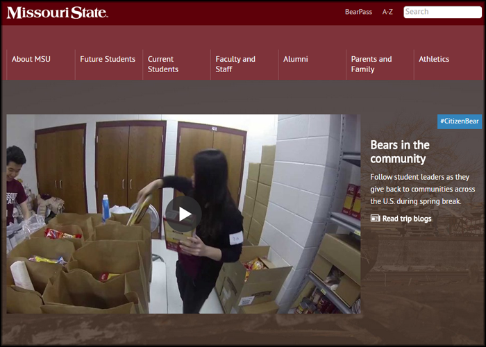 The spring break homepage feature drew attention to Missouri State's immersion trips by highlighting a video about them and encouraging viewers to read the immersion blog.