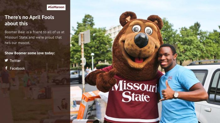 "April Fools' Day feature reveals that Boomer is a ""friend to all of us at Missouri State"" -- and our mascot"