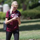 Student looking at mobile phone