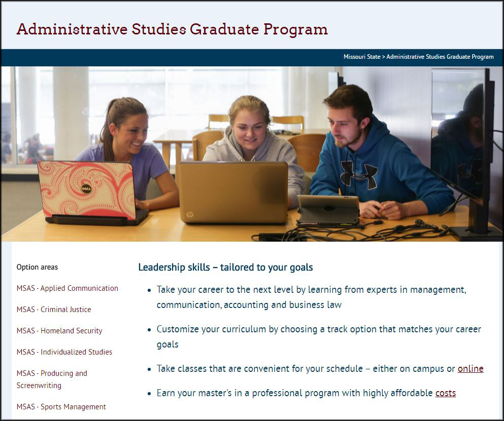 The homepage for the administrative studies website, which features flexible curriculum and unique track options