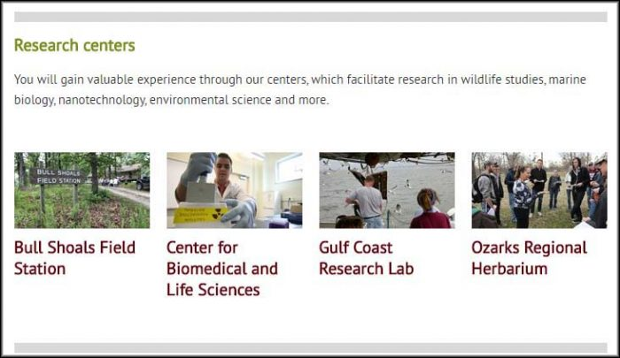 The research centers of the biology department, as featured on the homepage