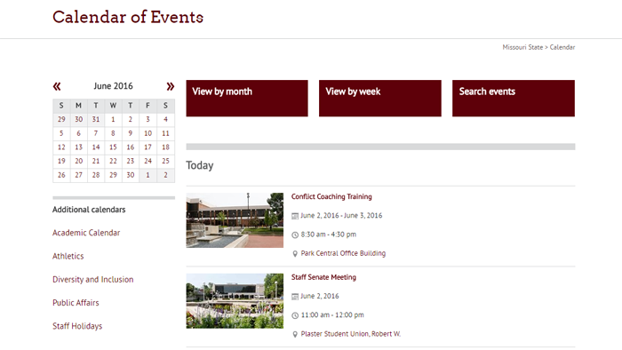 2016 Missouri State University Calendar Website
