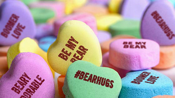 candy hearts with #BearHugs
