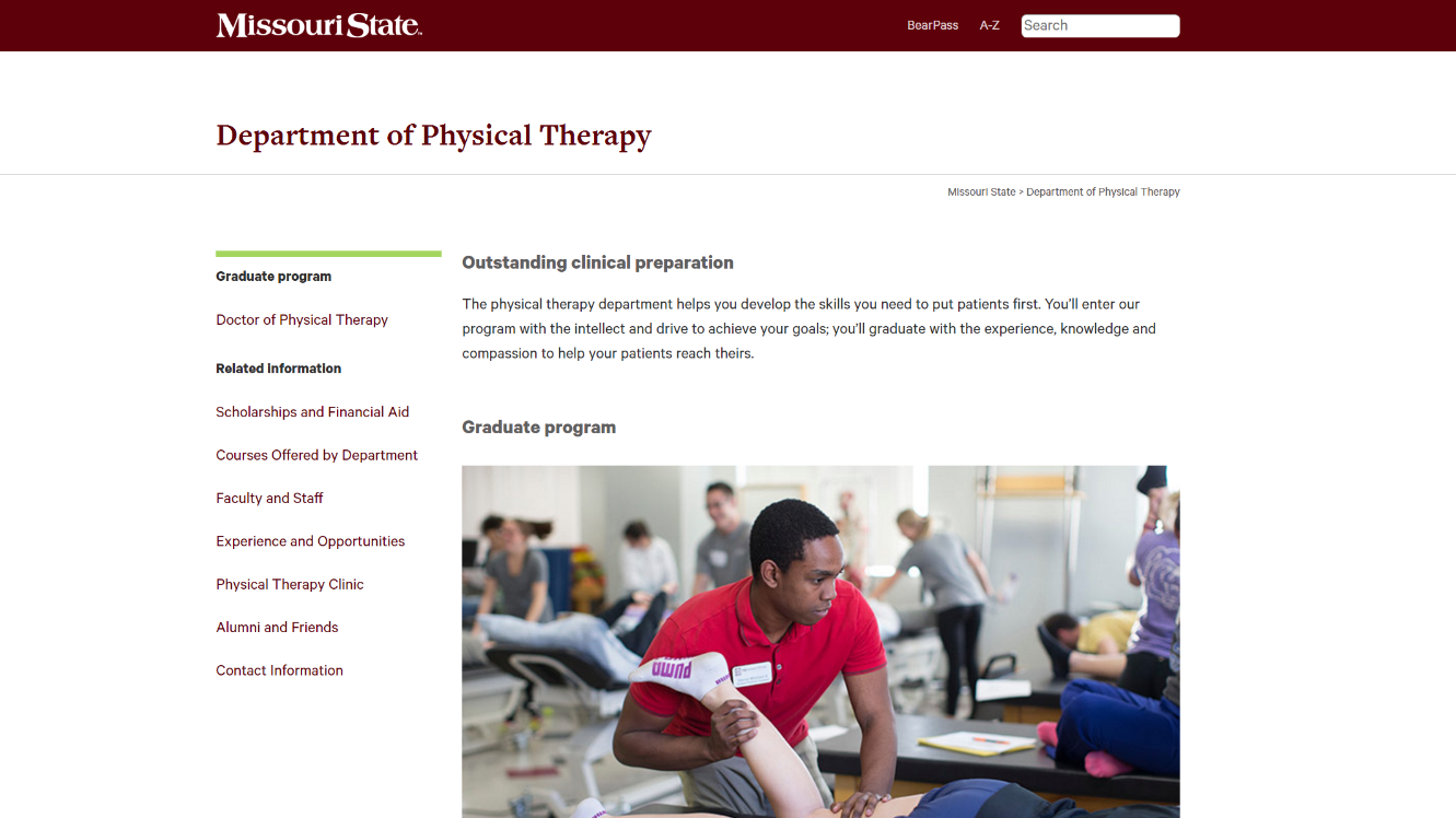 The new homepage of the physical therapy department website.