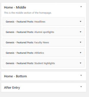 image of the categories widget for the blog