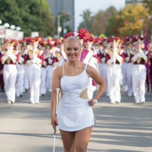 baton twirler in parade