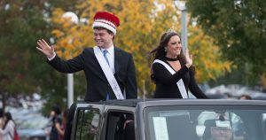 Homecoming court in parade