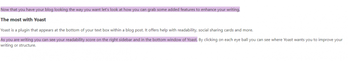 image of highlighted text by Yoast plugin