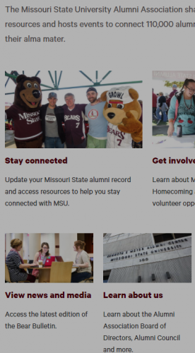 old not mobile friendly alumni site
