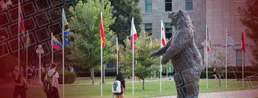 The Bronze Bear statue with international flags for Facebook