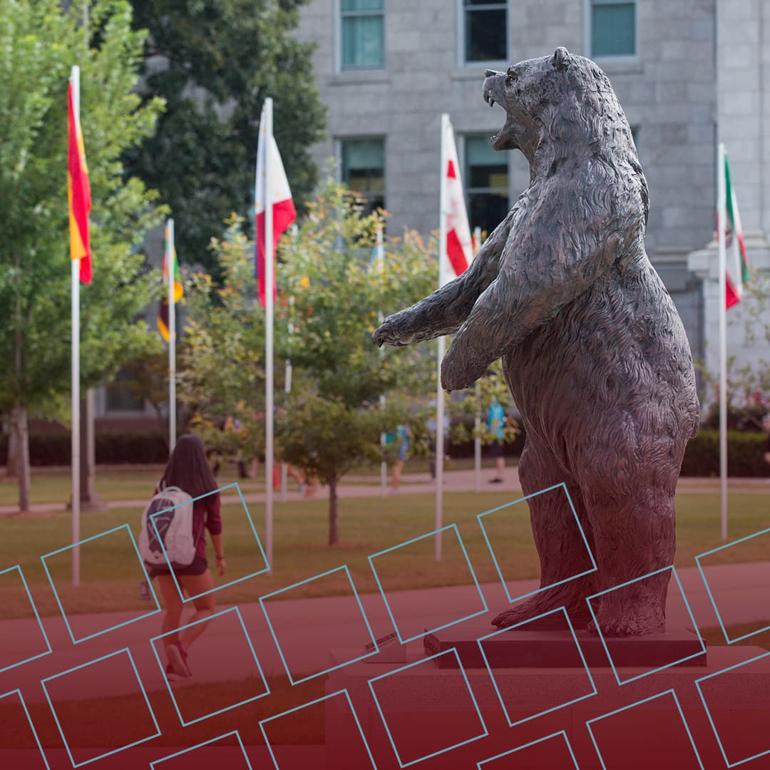 The Bronze Bear statue with international flags for Instagram