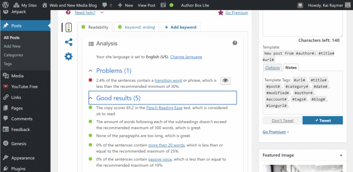 Screenshot of Yoast SEO readability analysis.