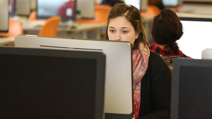 Person sitting in computer lab at station.