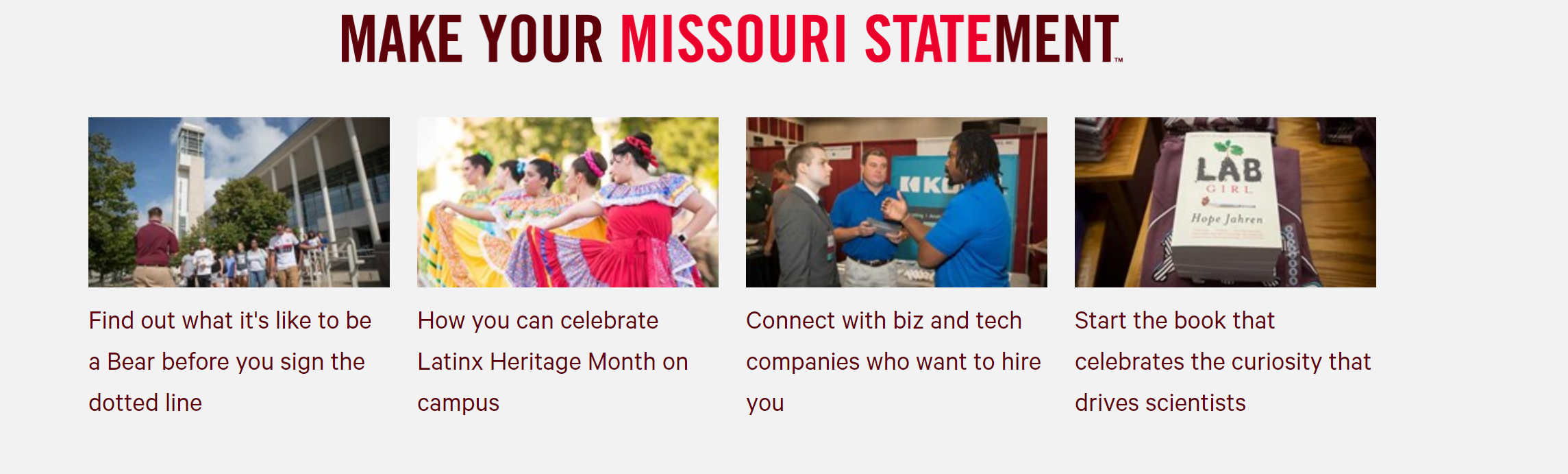 Homepage of missouristate.edu showing featurette examples