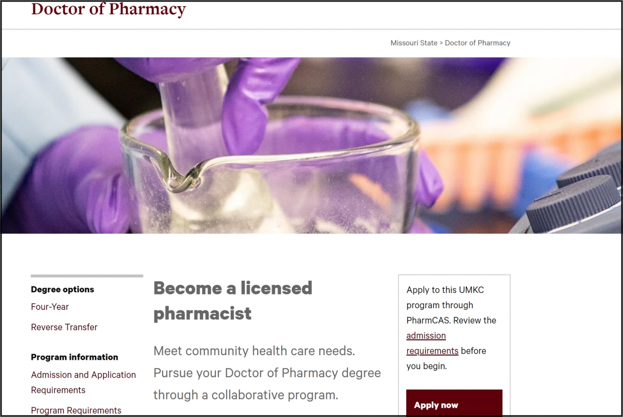 Top part of Doctor of Pharmacy homepage.