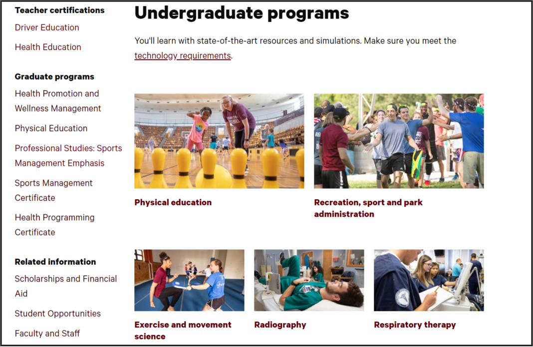 Students in kinesiology undergraduate programs