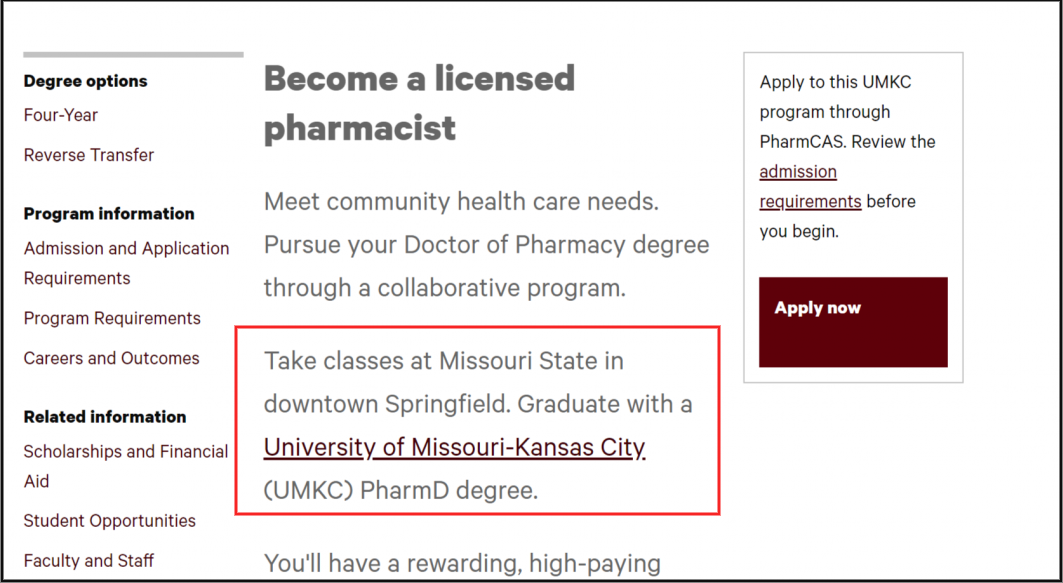 Details about collaborative program on Doctor of Pharmacy homepage.