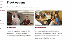 Track option areas on exercise and movement science program homepage.
