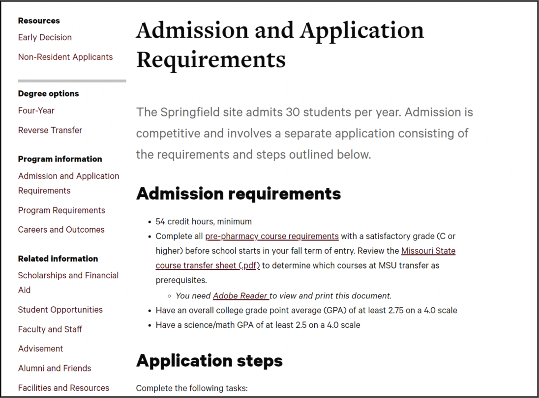 Top part of Doctor of Pharmacy's Admission and Application Requirements page.