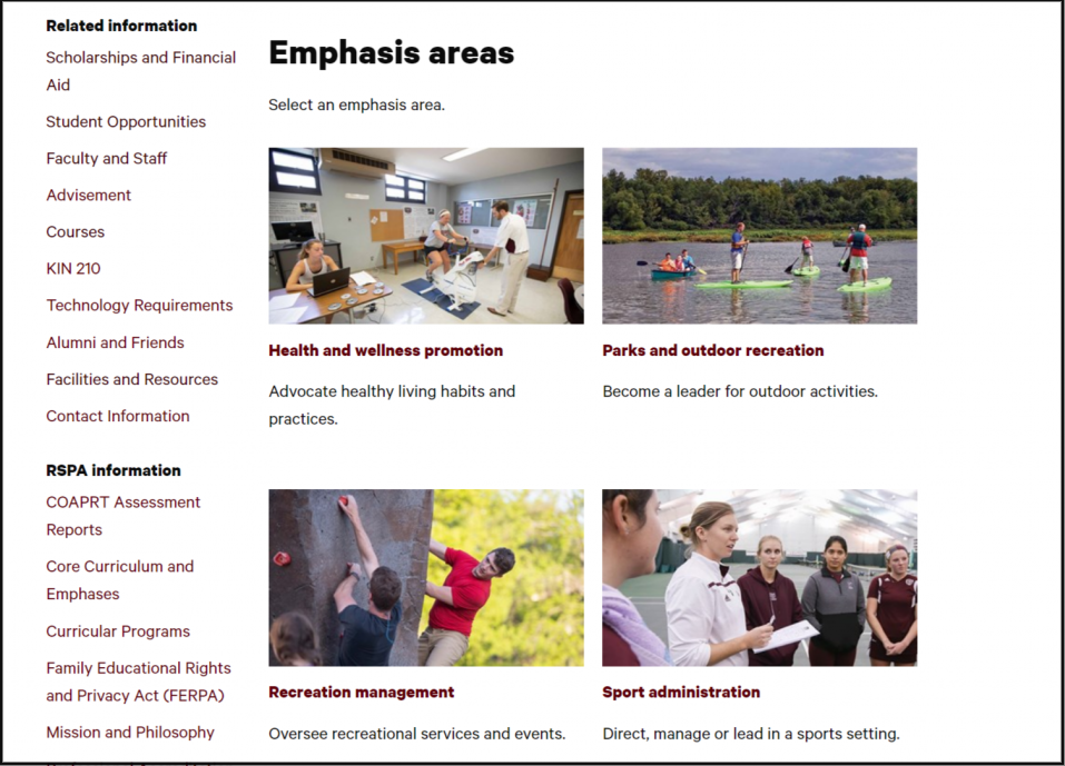 Emphasis areas for the recreation, sport and park administration program website