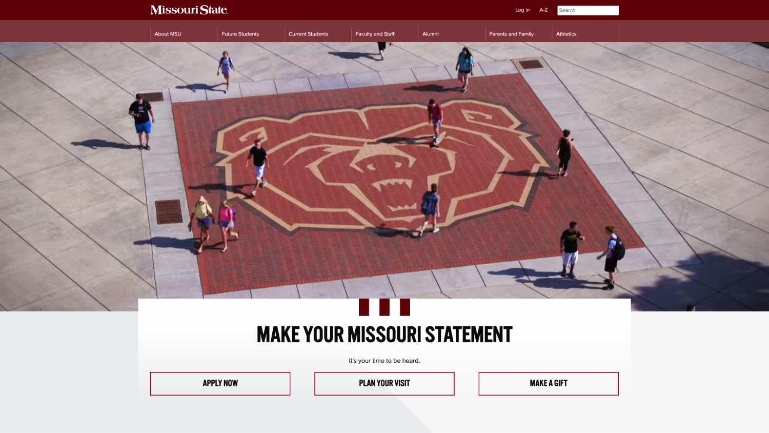 Top portion of new Missouri State University homepage.