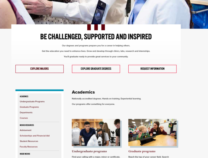 Homepage of McQueary College of Health and Human Services website.