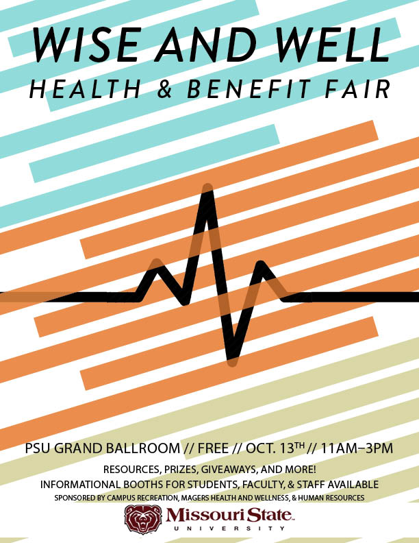 The Wise and Well Health & Benefit Fair will take place in the PSU grand ballroom from 11:00 AM to 3:00 PM on October 13th.